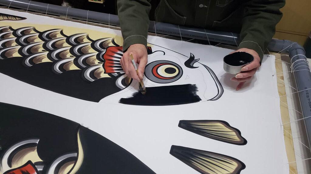 手描きの作業風景